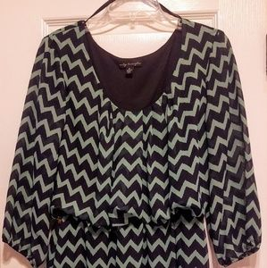Navy and seafoam green Chevron dress